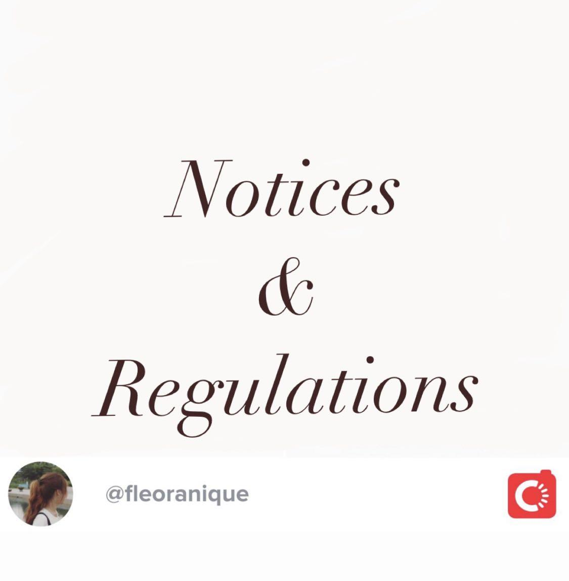 Notices and Regulations for shoppers