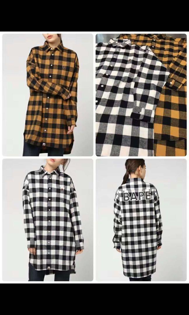 Original Bape Checker Shirt Onepiece Ladies