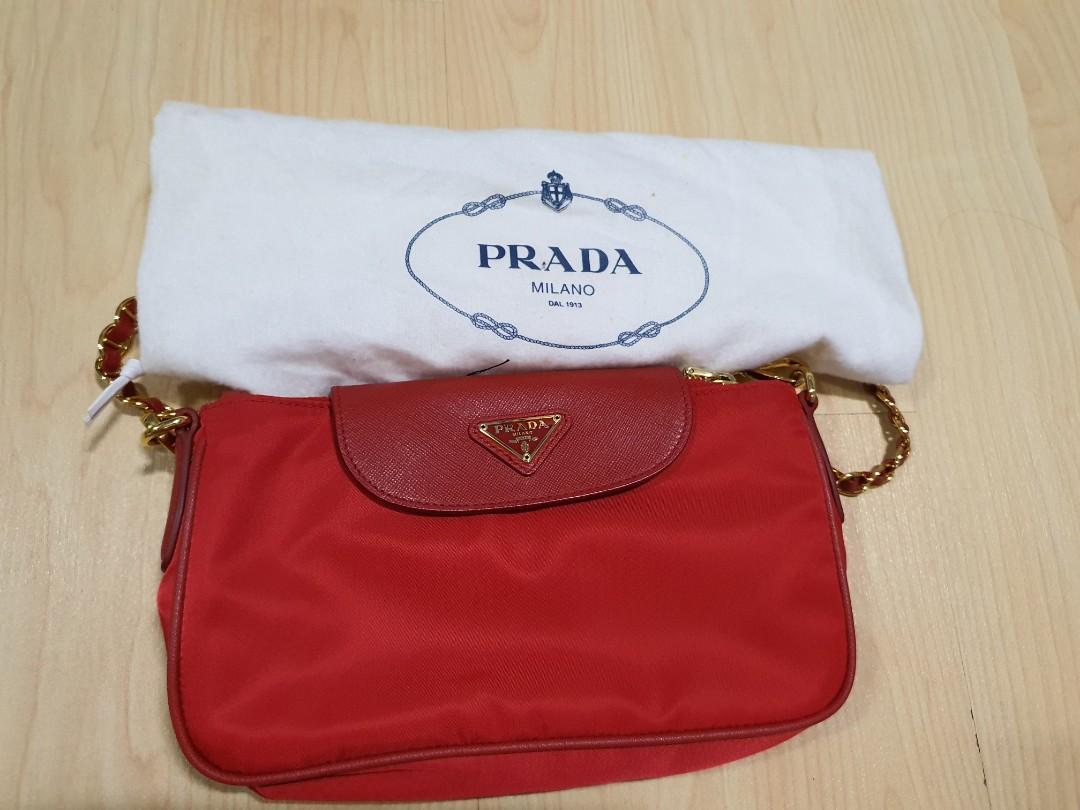 Prada Tessuto Nylon Convertible Clutch Sling Bag Authentic