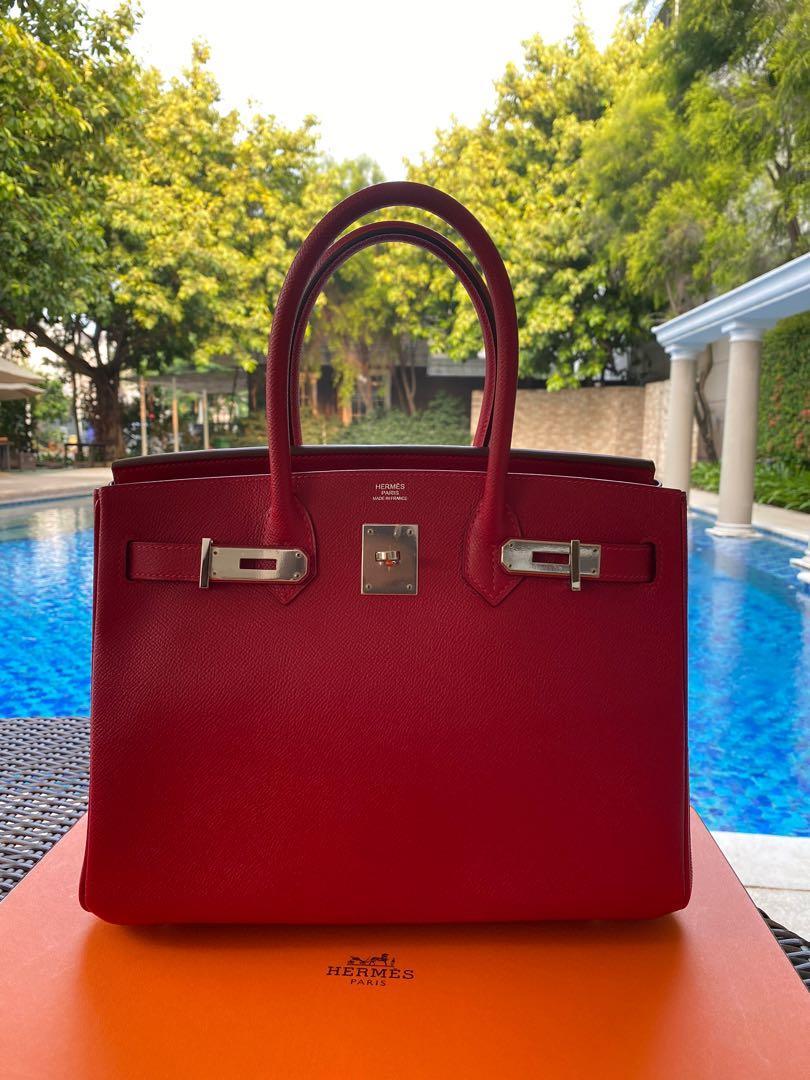 Preloved Excellent Hermes Birkin 30 Rouge Casaque Epsom  PHW Q Fullset Original Receipt