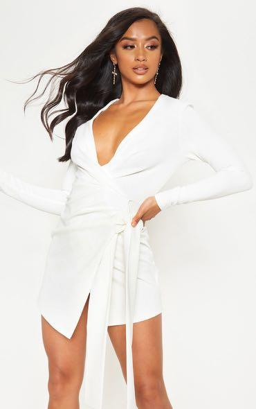 PRETTYLITTLETHING WHITE WRAP DRESS
