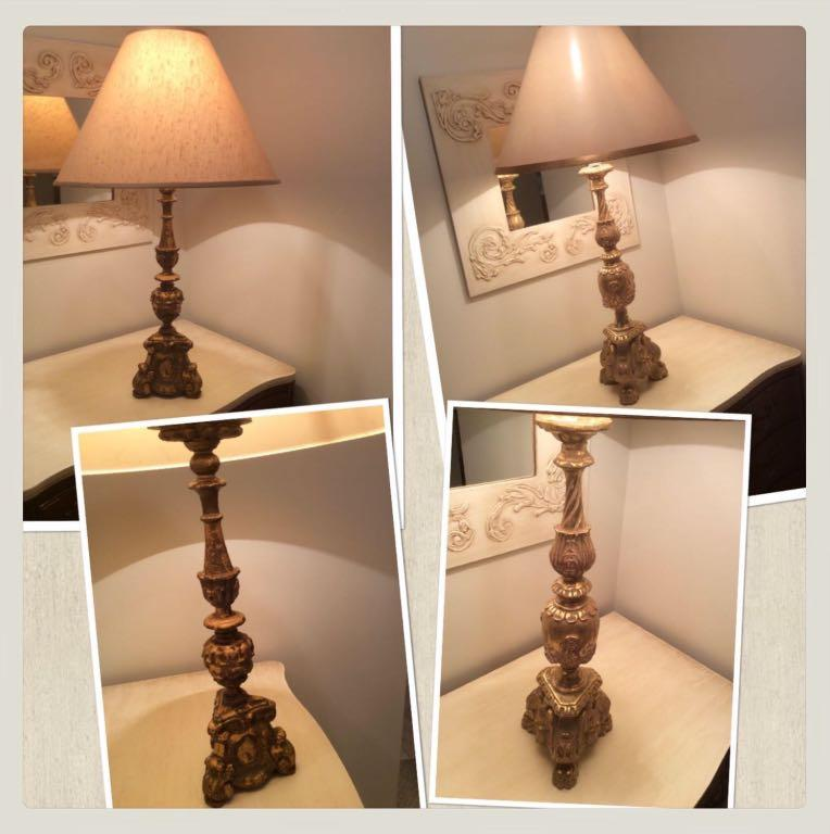 ⭐PRICED INDIVIDUALLY.⭐  2 gilded antique wooden alter pricket candlesticks made into lamps