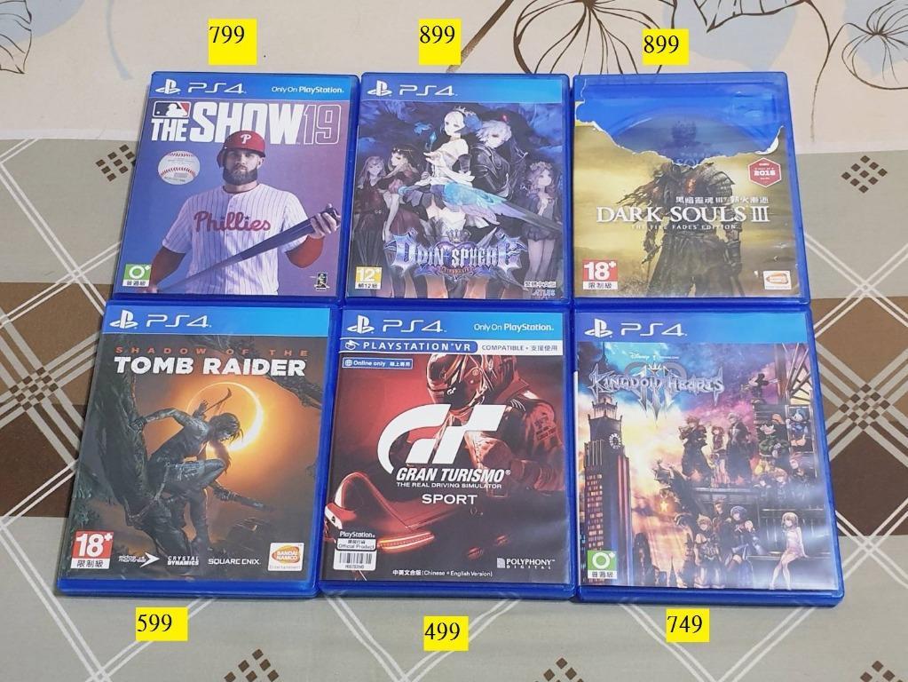 PS4遊戲(MLB19、奧汀領域、黑暗靈魂3、古墓奇兵暗影、GTS、王國之心3)