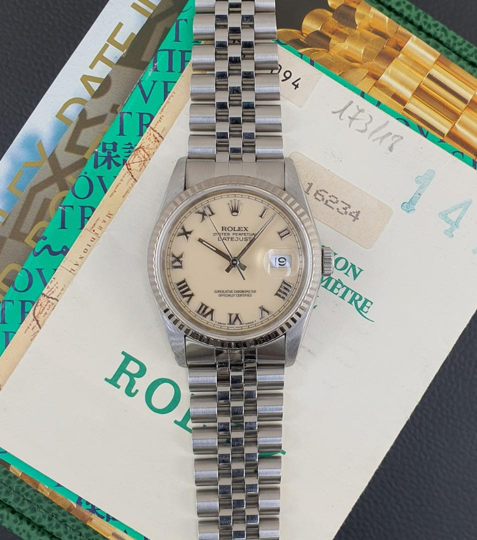 Rolex Men Datejust Steel & White gold Ref 16234 Panna Dial with Certificate