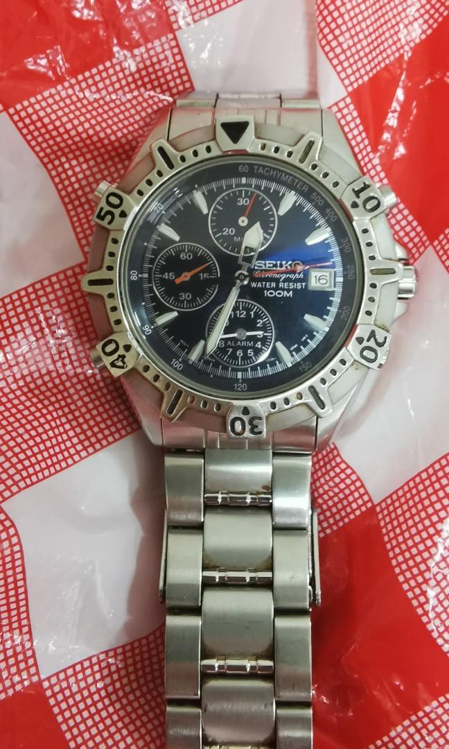 Seiko chrono quartz Watch. 40mm w/o crown. working condition good