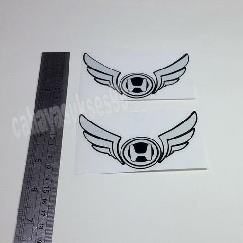 Sticker Cutting Logo Motor HONDA SAYAP Wings Putih List Hitam Reflective 10cm X 6cm Stiker Body Motor Reflective Paket 1 Set 2pcs New Ready Stock