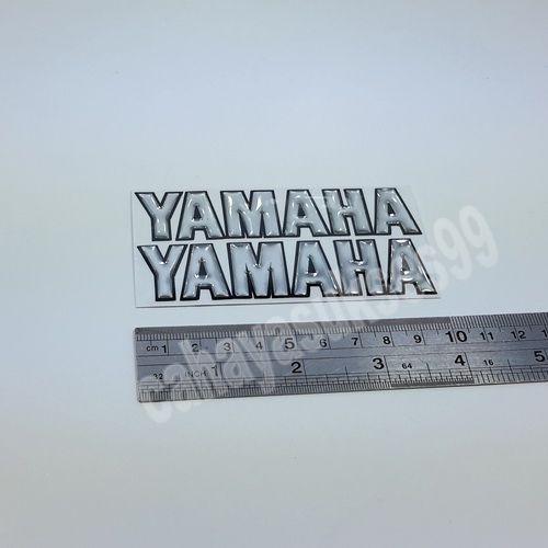 Sticker Timbul YAMAHA Silver Reflective List Hitam Size Kecil 10cm x 2.2cm Stiker Emblem Motor Paket PROMO Hemat 1set 2pcs Stiker Resin Tebal