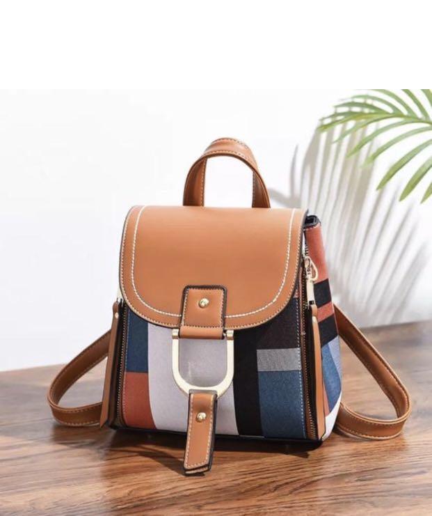 Stripes Backpack Knapsack, Colour Blocking Crossbody Messenger Tote Purse Bag, Fashion Designer Convertible Travel Purse bag handbag
