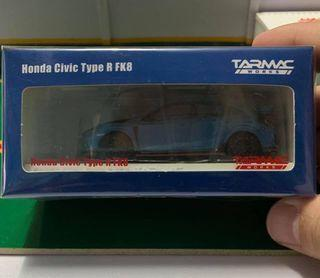 Tarmac Works HOBBY64 Model Car - Honda Civic Type R FK8 Blue with Black Bonnet Tuned By SPOON