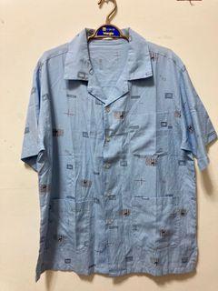 Vintage古巴領藍色襯衫