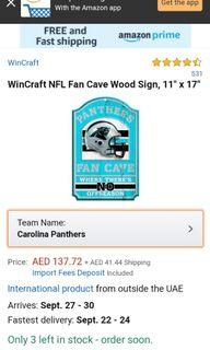 """WinCraft NFL Fan Cave Wood Sign, 11"""" x 17"""""""