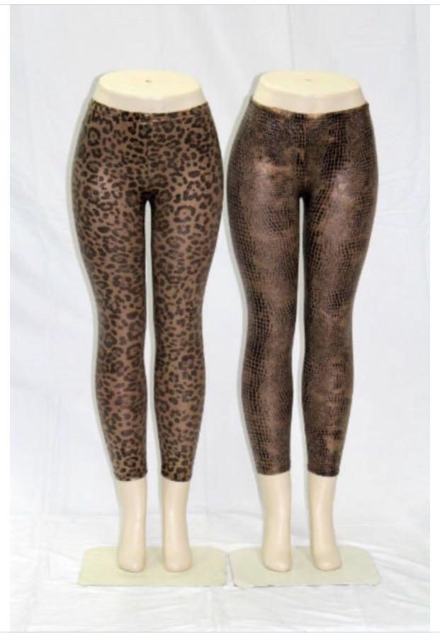 Women's Leopard Snake Print Tights Leggings, Shiny Tights Leggings, Spandex Leggings