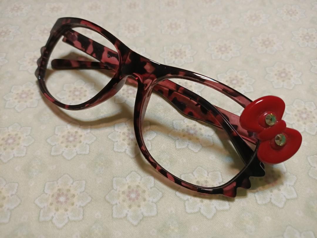 造型眼鏡框  桃紅豹紋+蝴蝶結