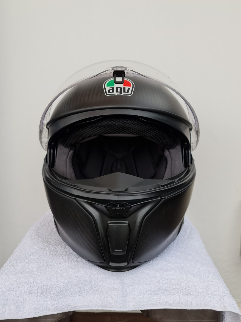 Sold Agv Sportmodular Carbon Fiber Helmet Motorcycles Motorcycle Apparel On Carousell