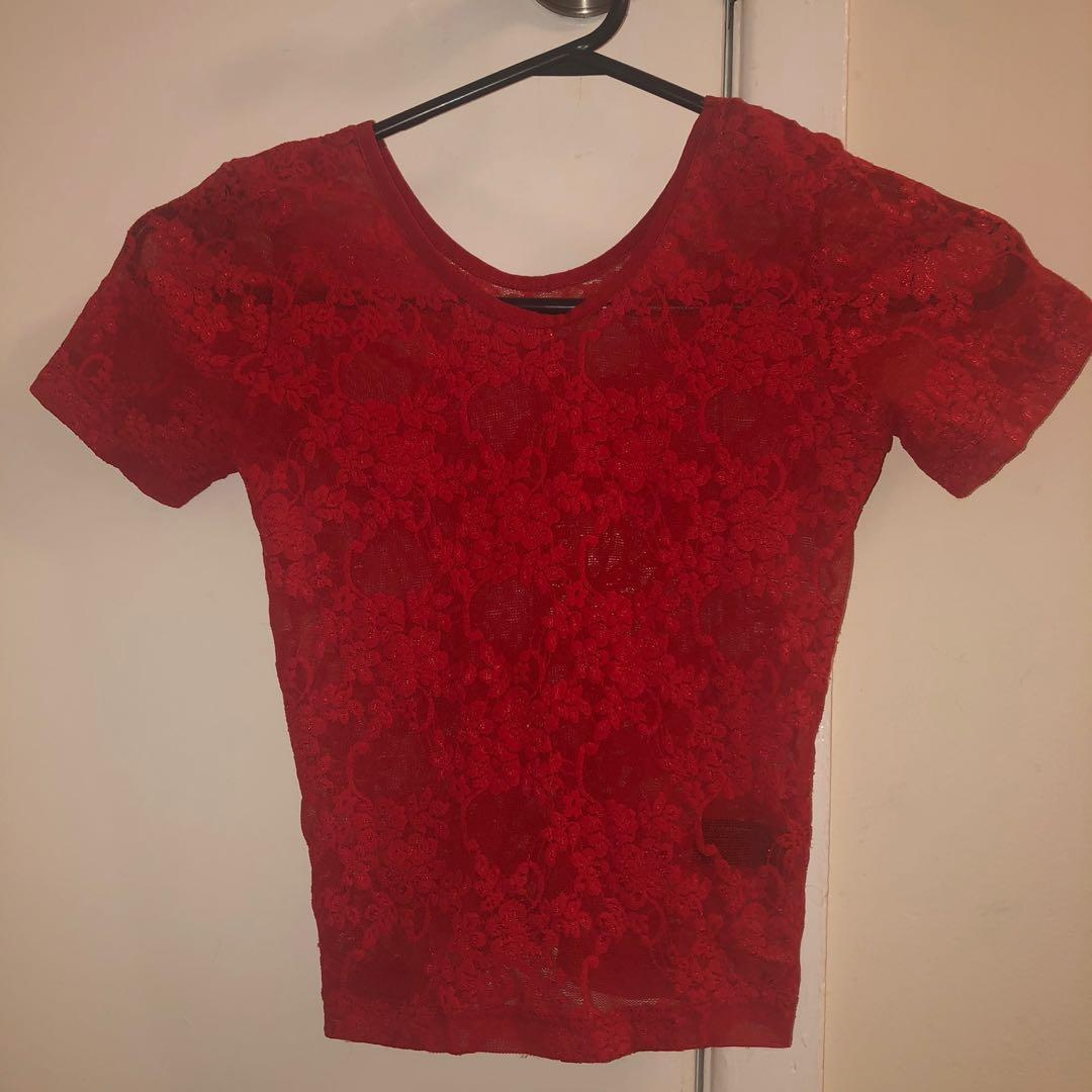 American Apparel red lace crop top