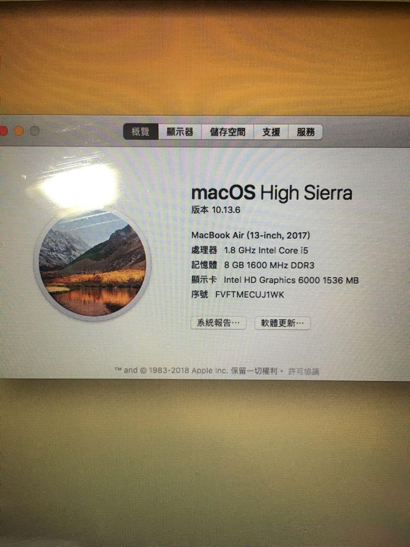 Apple Mac air2017送原廠線、電腦包