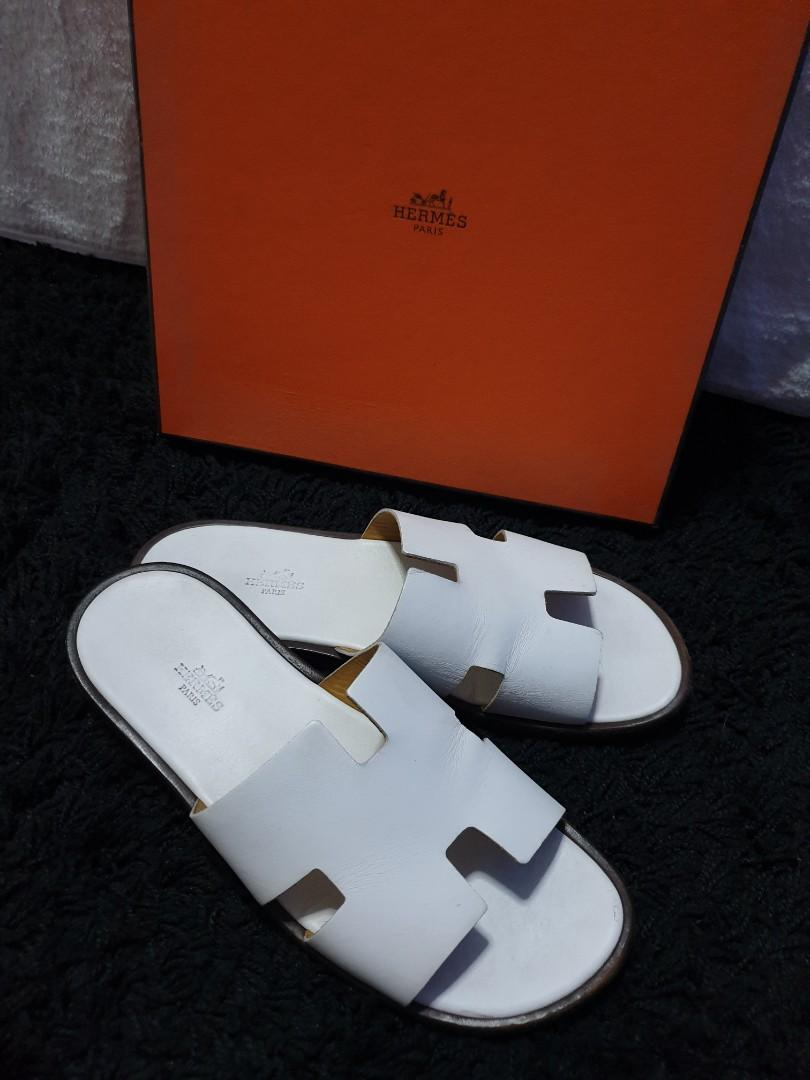 AUTH HERMES IZMIR WHITE LEATHER SLIPPERS / SANDALS / SLIDES / SHOES