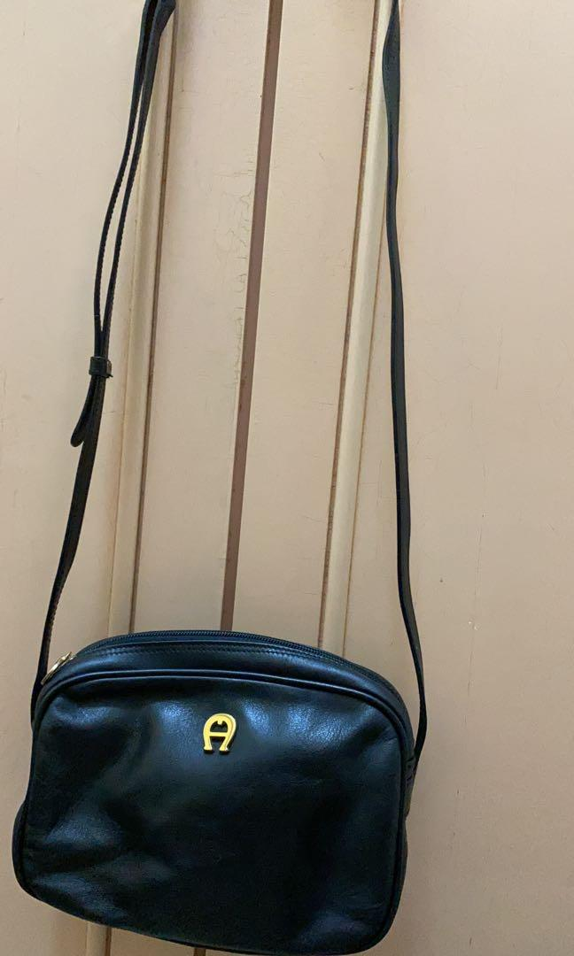 Authentic Aigner Black Leather Sling  Bag