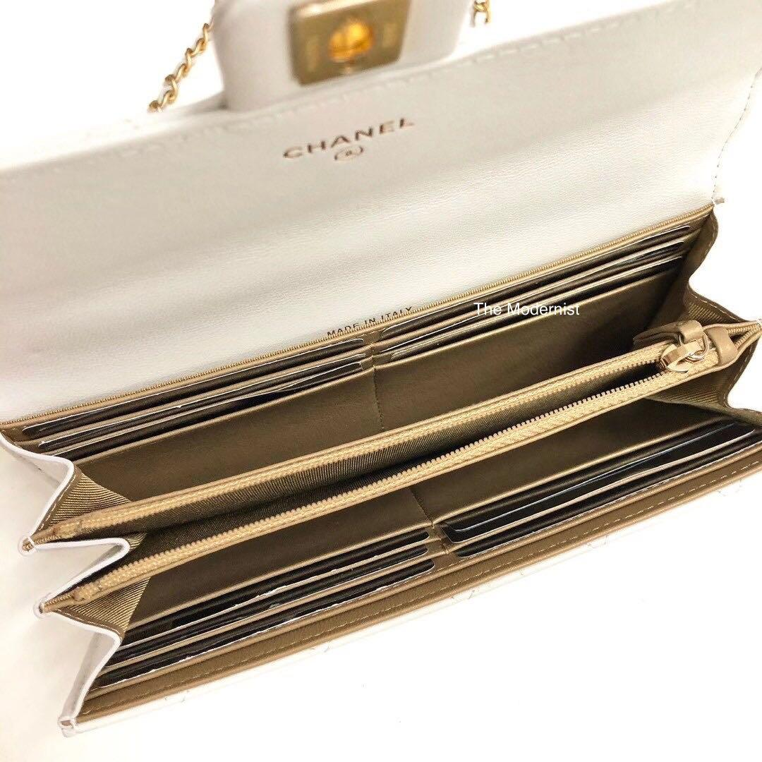 Authentic Chanel Pearl Wallet On Chain Clutch Bag