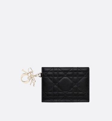 Authentic Lady Dior Lambskin flat card holder