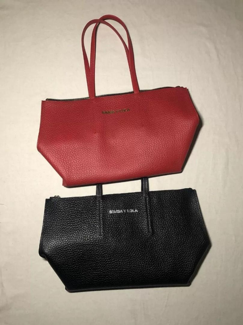 Bimba Y Lola Leather Tote Bag in Black / Red