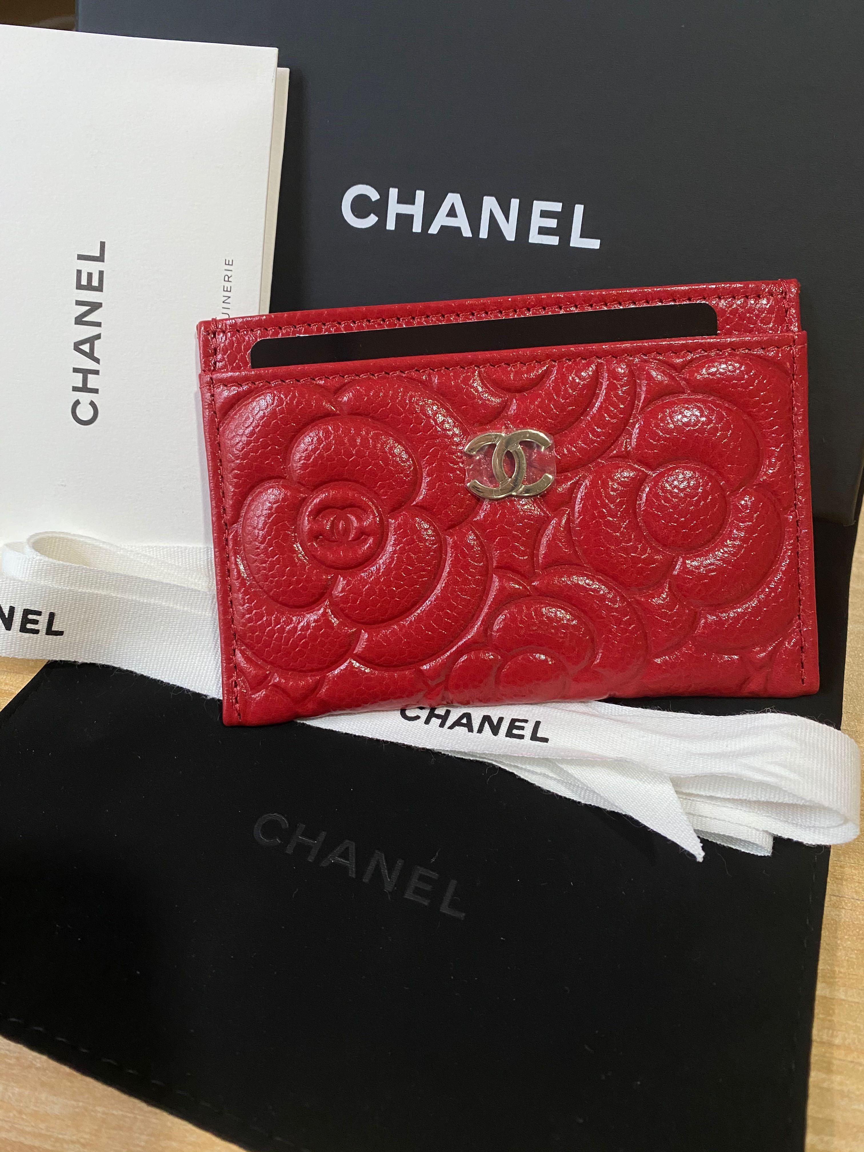 BNIB Authentic Chanel Camellia Red Cardholder