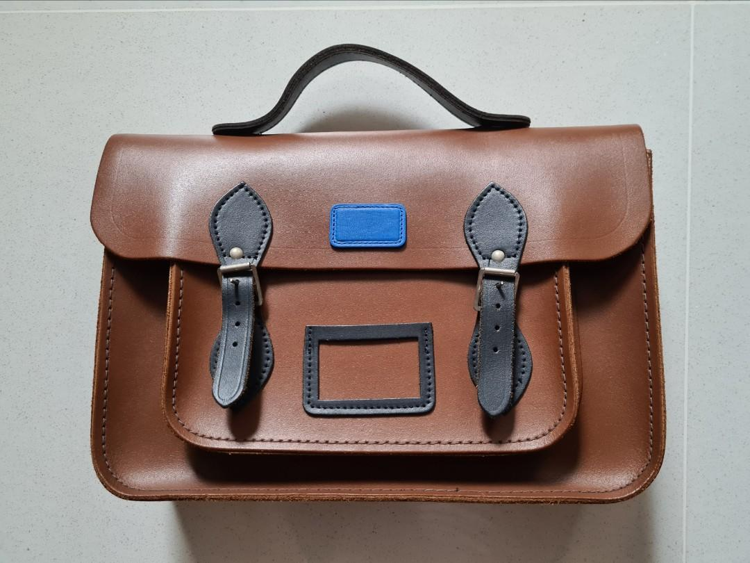 Cambridge Satchel 14' leather Briefcase with a handle