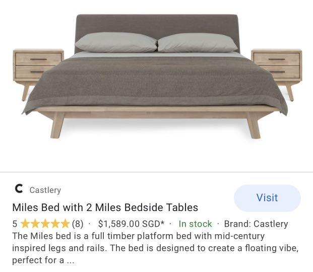 Castlery Queen Bed Frame Furniture, Wooden Timber Bed Base Queen
