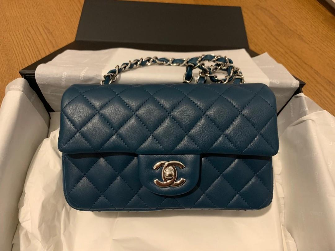 Chanel Mini Rectangular Lamb Skin Teal Blue