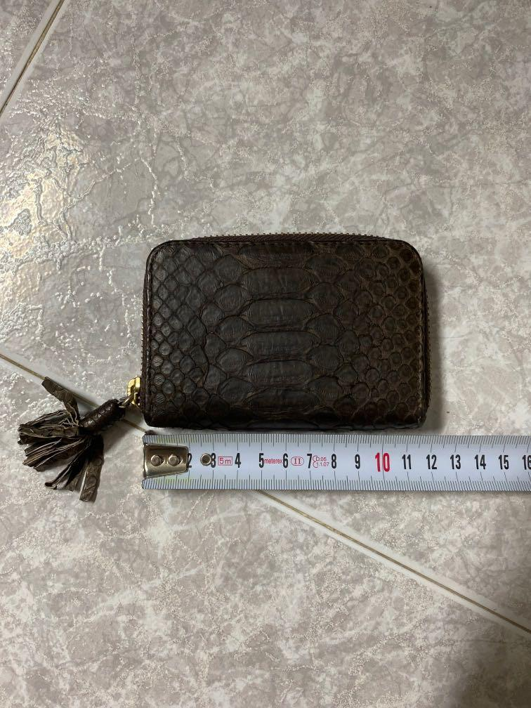 Genuine Real Authentic Snake Skin Leather Wallet with Tassels in Brown