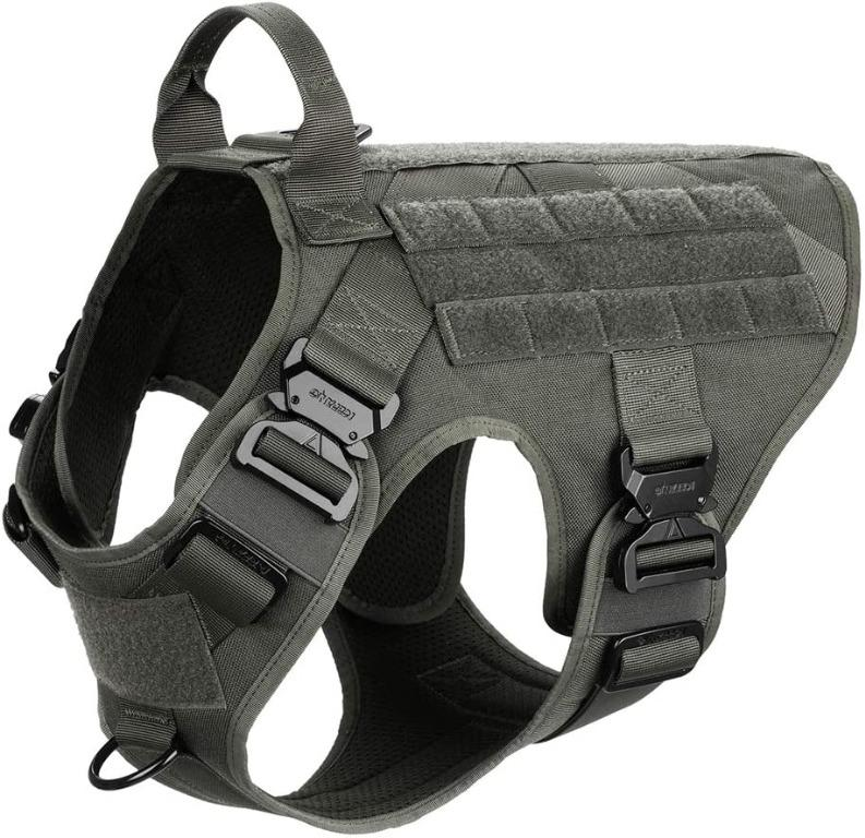 ICEFANG Tactical Dog Harness,4X Metal Buckle Large Neck 18-24;Chest 28-35