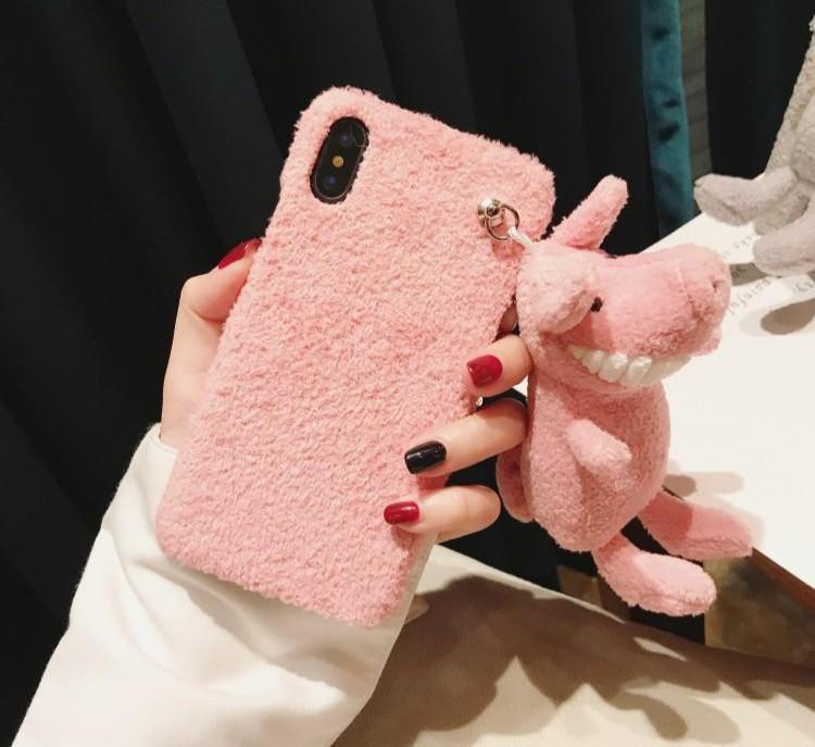 動物布偶手機殼iPhone 7 微笑大牙 可愛毛絨 絨毛公仔 小豬款