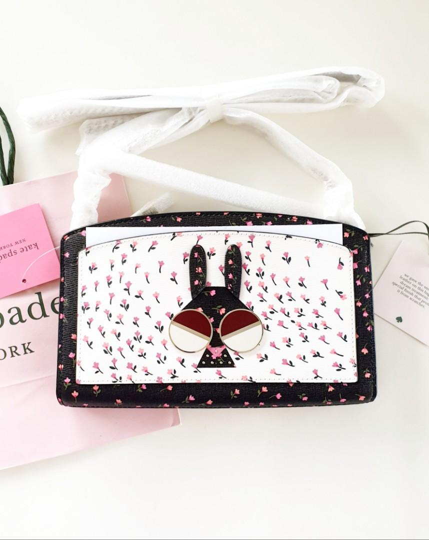 Kate Spade Spademals Money Bunny Rabbit Floral East West Crossbody Sling Bag Clutch Purse