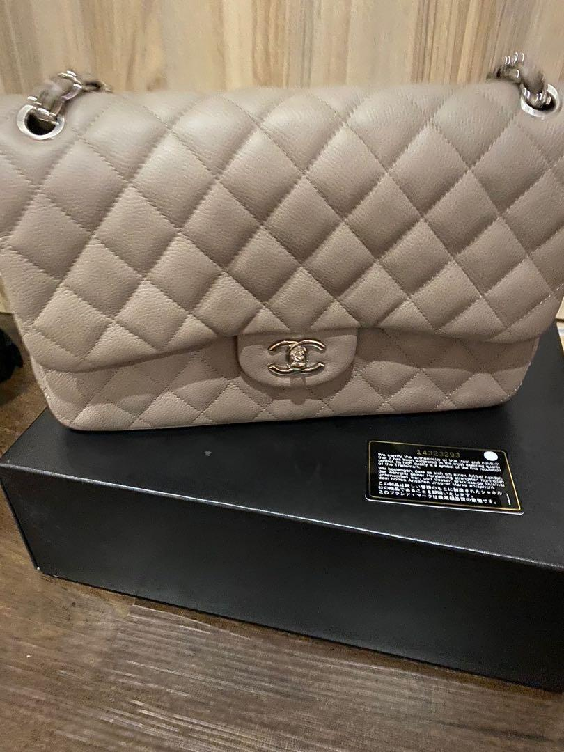 LN Chanel Jumbo Bag Classic Double Flap Taupe Caviar with SHW