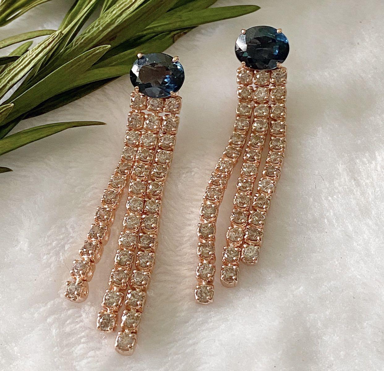 London blue topaz with white topaz dangling earrings
