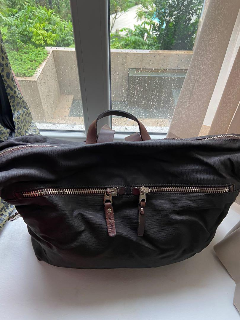 M0851 mixed leather and wax backpack