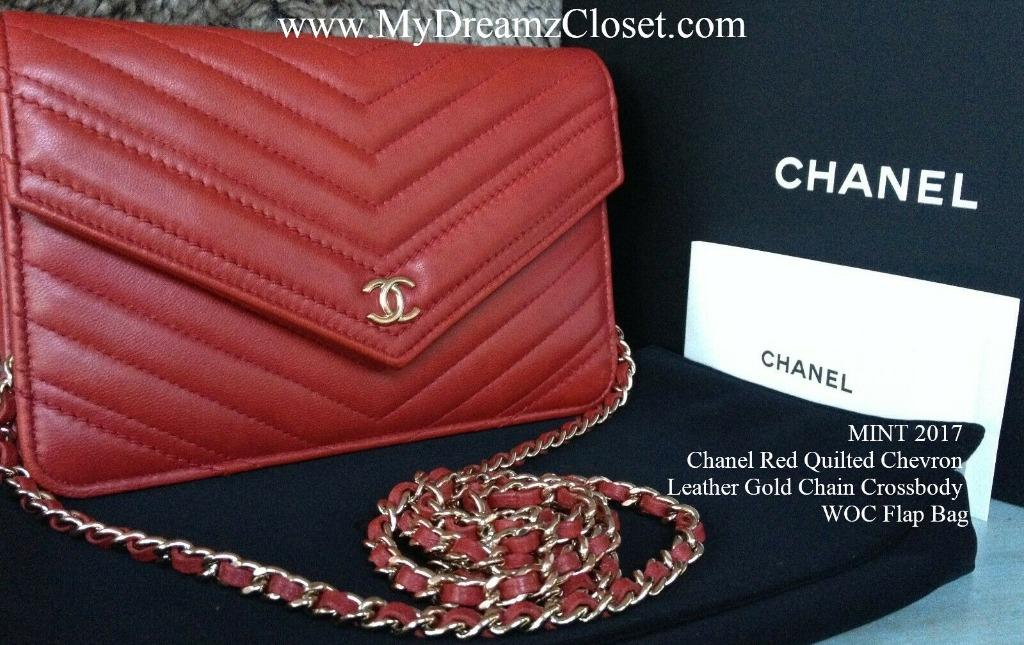MINT 2017 Chanel Red Quilted Chevron Leather Gold Chain Crossbody WOC Flap Bag