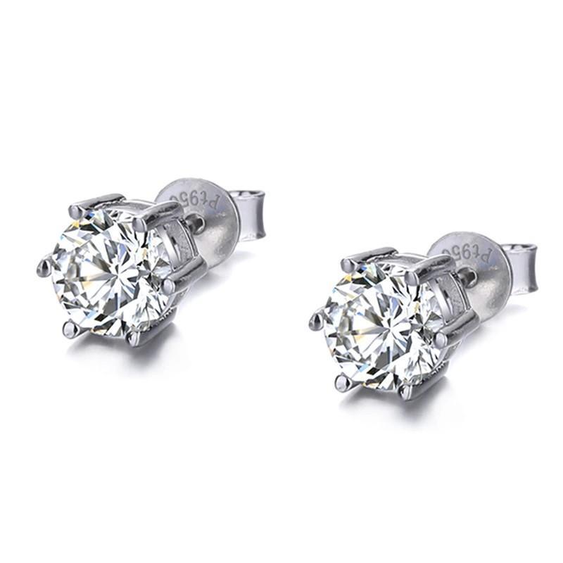Moissanite Diamond Earrings in STERLING SILVER  on 18K  Gold