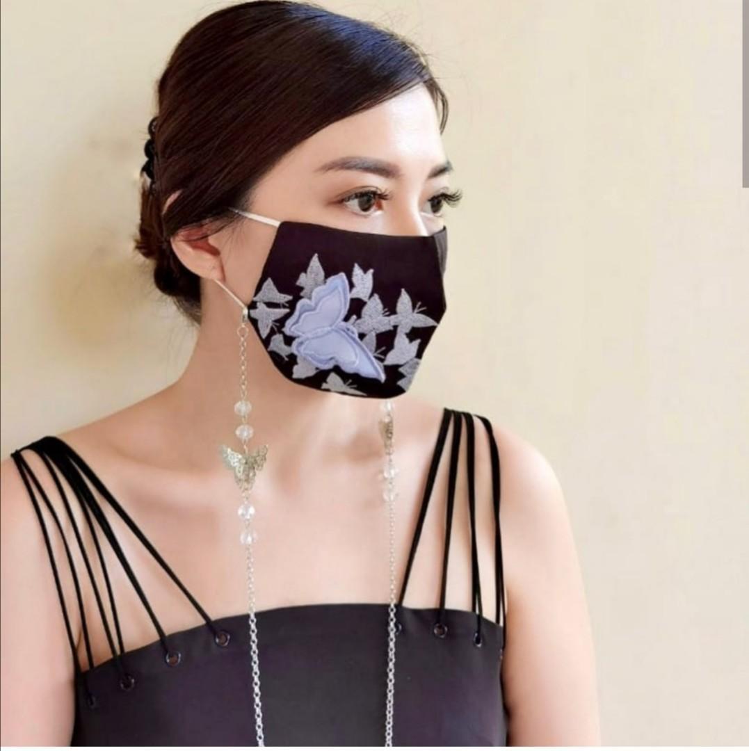 (2pcs)Papillon set 3D embroidery butterfly mask + butterfly lanyard