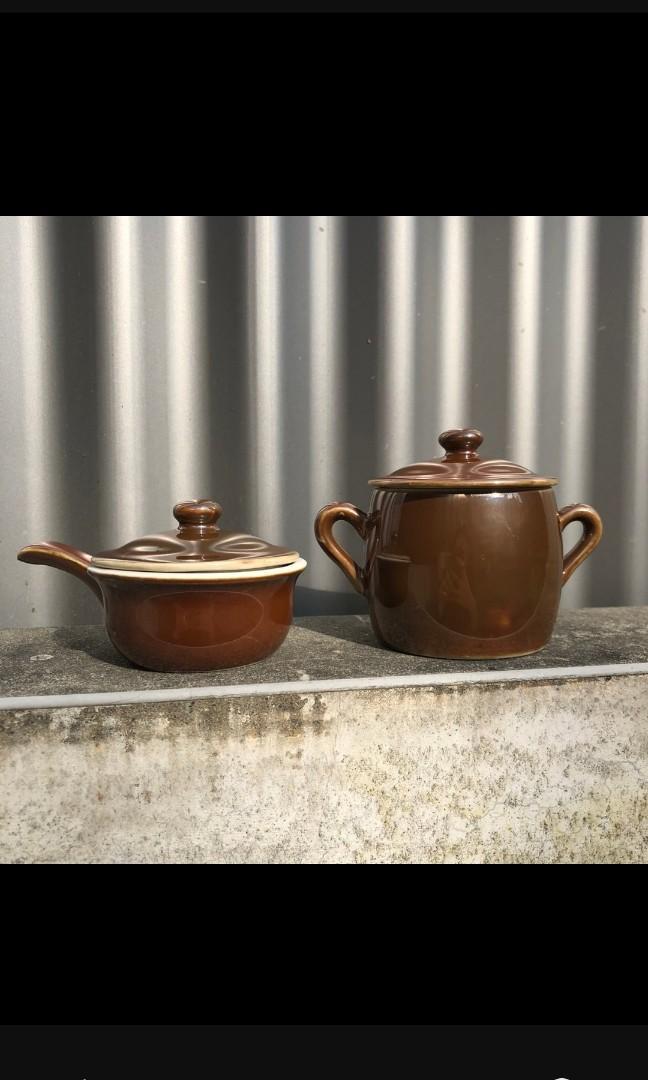 Pillivuyt Pilivite Brown Luster Porcelain pottery 法國瓷器 陶器 糖罐 置物罐 小物罐 矽鎂光澤釉料