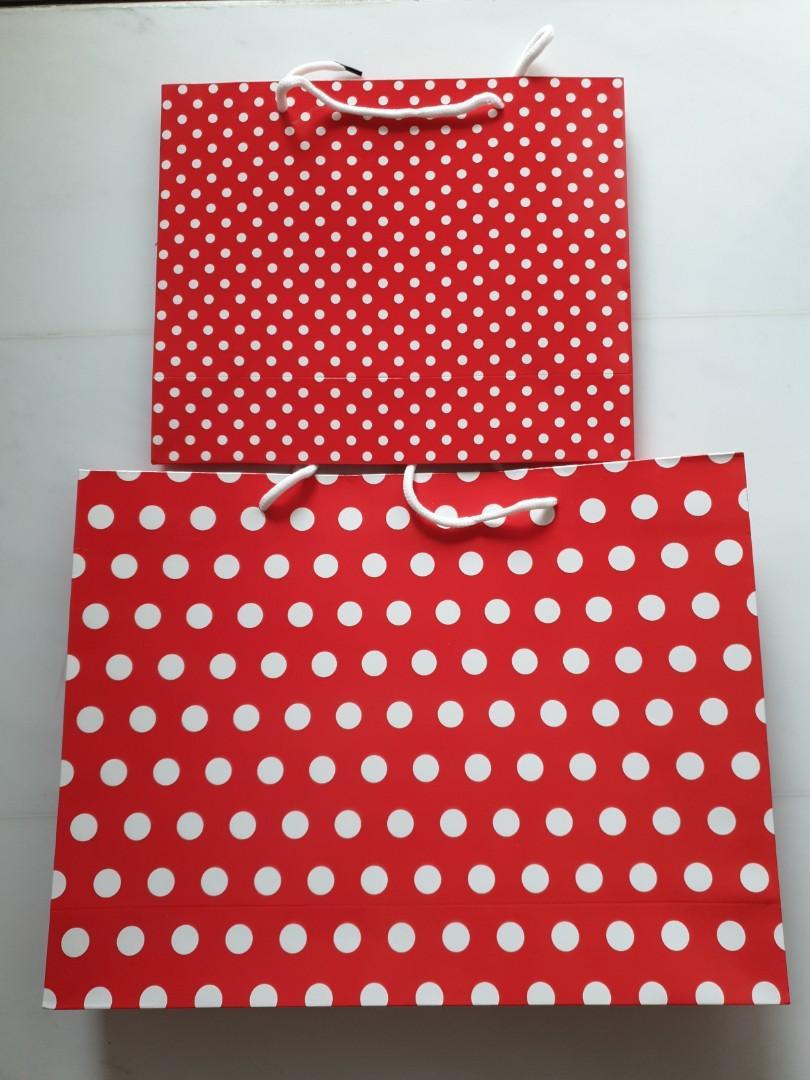Polka Dot Paper Bags,  2 nos