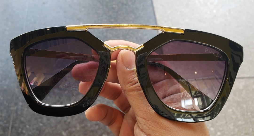 PRADA Black Gold Bar Sunglasses (Not Authentic)