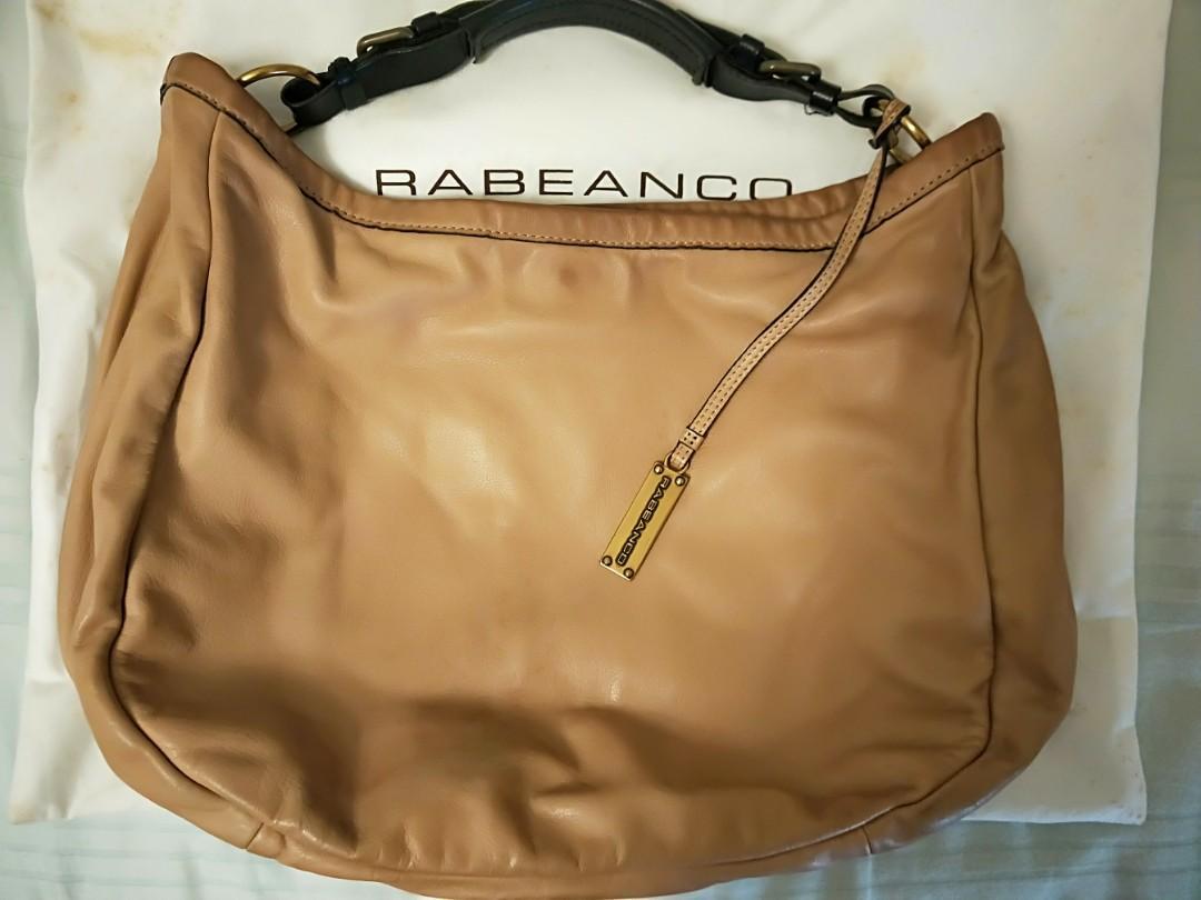 Preloved dusty pink/beige rabeanco hobo tote bag (calf leather)