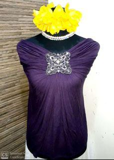 Super Stylish Teal Off-Shoulder Dark Violet Pure Cotton Beaded Party Tops Large