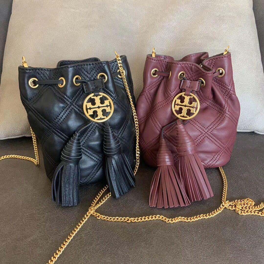 Tory Burch leather tassel small bucket bag