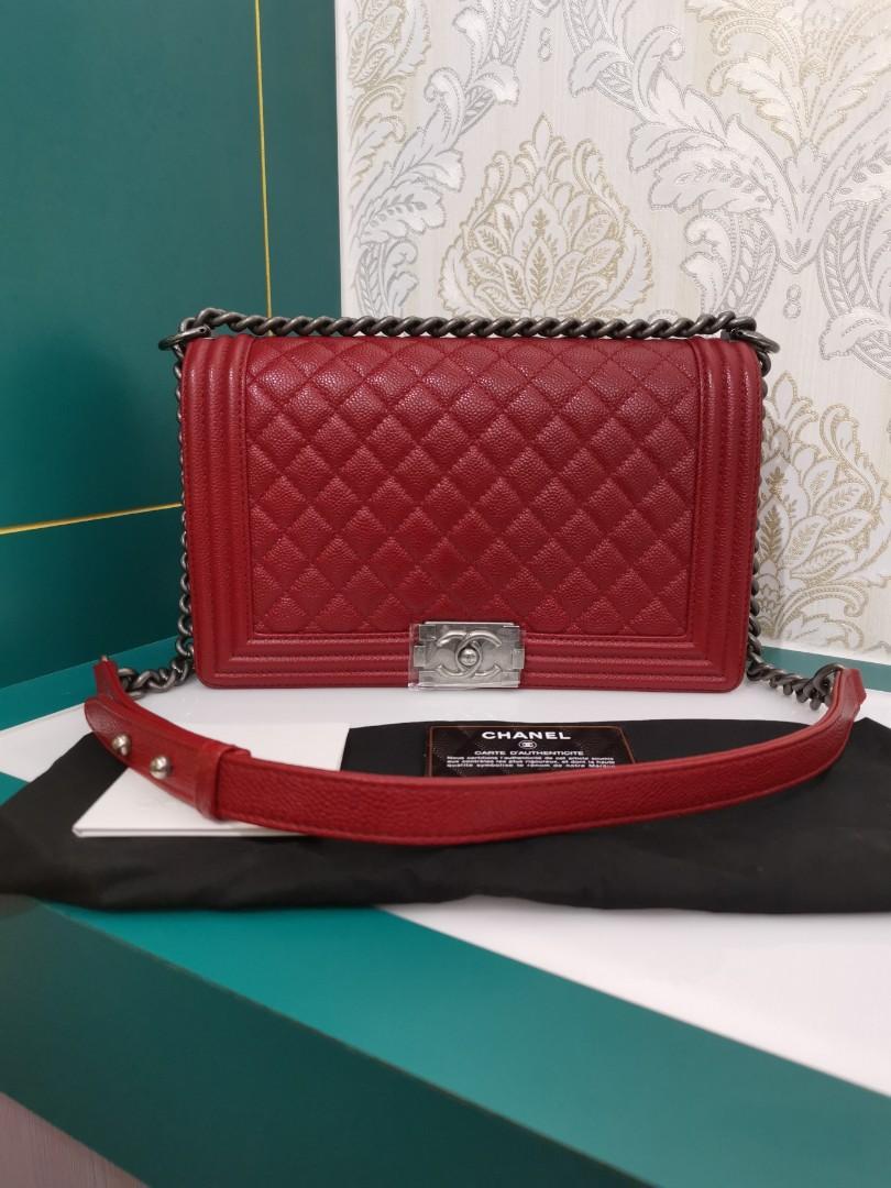 #19 Brand New Chanel Boy New Medium Red Caviar with RHW