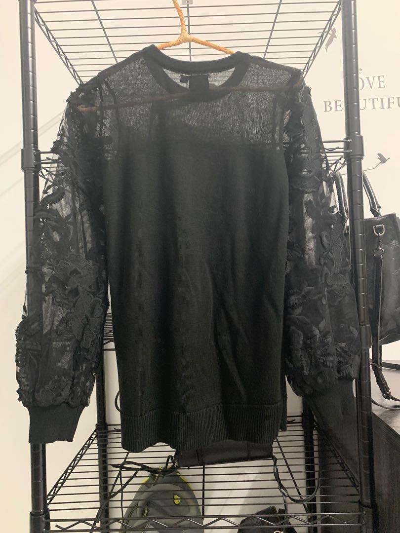 ✨ iroo ✨  黑色蕾絲澎袖針織上衣  全新品