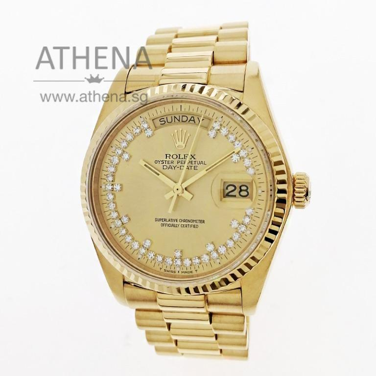 """ROLEX 18K YELLOW GOLD OYSTER PERPETUAL DAY-DATE """"CHAMPAGNE DIAMOND DIAL"""" 18038 WLWRL_1247"""