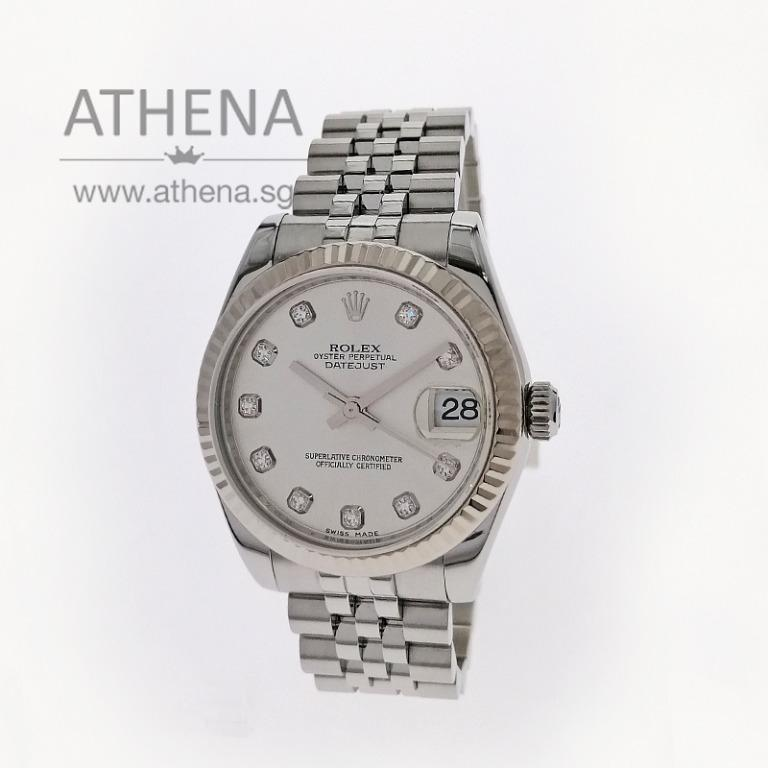 "ROLEX MID-SIZE OYSTER PERPETUAL DATEJUST ""AN"" SERIES ""SILVER DIAMOND DIAL"" 178274 JGWRL_1400"