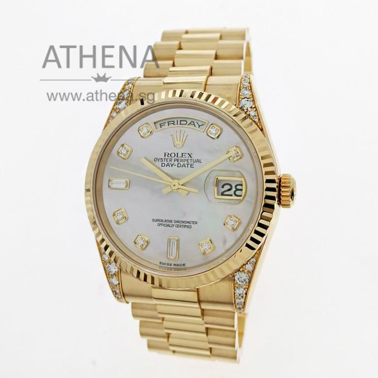"""ROLEX 18K YELLOW GOLD OYSTER PERPETUAL DAY-DATE """"K"""" SERIES """"MOP DIAMOND DIAL"""" WITH ORIGINAL FACTORY SETTING DIAMOND ON LUGS WITH BOX & CERT 118338 (LOCAL AD) JWWRL_1486"""